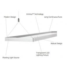 Corp de iluminat interior GE panel LED suspendat 120x30cm, 55W, 50.000 ore, lumina rece