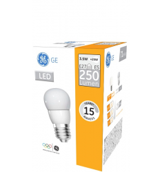 Bec LED General Electric sferic, 3.5W, E27, 250 lm, 15.000 ore, lumină caldă