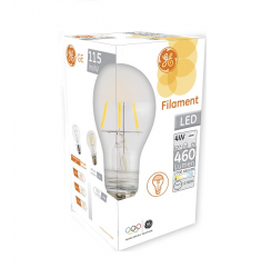 Bec LED General Electric clasic filament, 4W, E27, 460 lm, 10.000 ore, lumină caldă, perlat