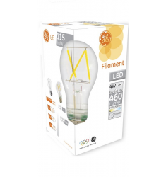 Bec LED General Electric clasic filament, 4W, E27, 460 lm, 10.000 ore, lumină caldă, clar