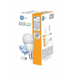 Bec LED General Electric Energy Smart™ sferic, 4W, E27, 270 lm, 20.000 ore, lumină caldă, dimabil