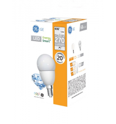 Bec LED General Electric Energy Smart™ sferic, 4W, E14, 270 lm, 20.000 ore, lumină caldă, dimabil