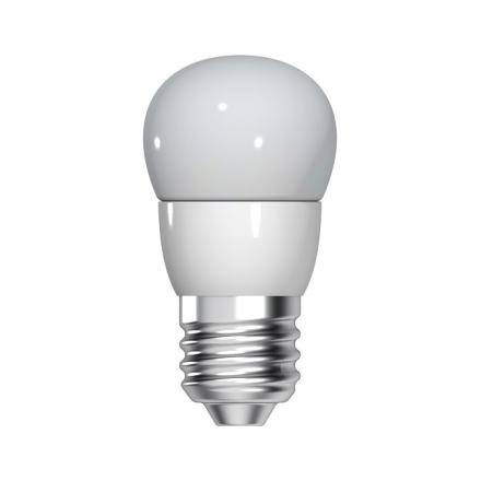 Bec LED General Electric sferic, 4.5W, E27, 350 lm, 15.000 ore, lumină caldă