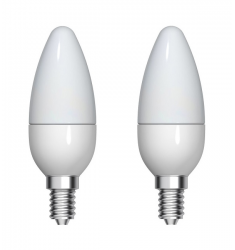 Blister 2 buc bec LED General Electric lumânare, 4.5W, E14, 350 lm, 15.000 ore, lumină caldă