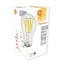 Bec LED General Electric clasic filament, 6.5W, E27, 760 lm, 10.000 ore, lumină caldă, clar