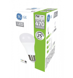 Pack 4 buc Bec LED General Electric clasic, 7W, E27, 470 lm, 25.000 ore, lumină caldă